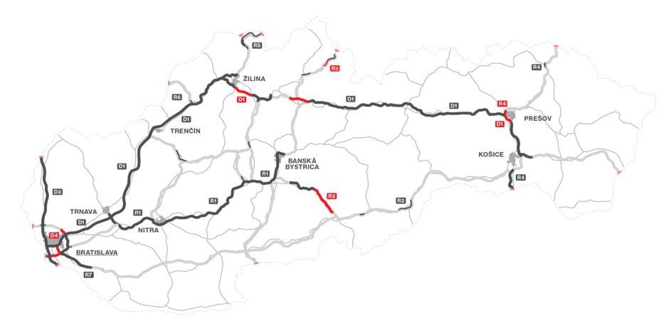 Mapa dálniční sítě Slovensko 2021